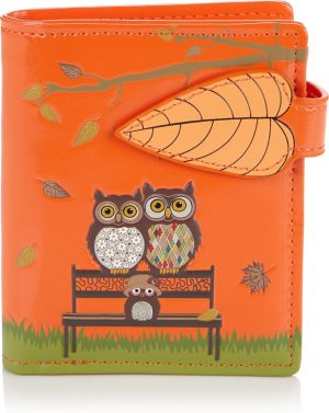 Shagwear Trendy & Funky Compact Vrouwen Portemonnee - Park bench Owls / Uil (0314sm)