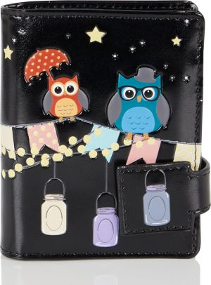 Shagwear Trendy & Funky Compact Vrouwen Portemonnee -Patio Owls / Uil (0405sm)