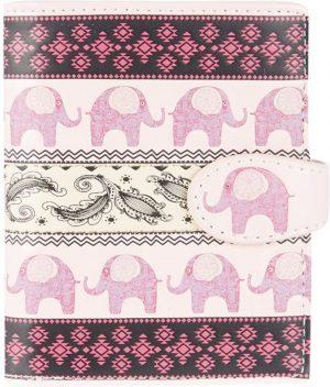 Shagwear Trendy & Funky Compact Vrouwen Portemonnee - Tribal Elephant Pattern / Olifant (0253sm)