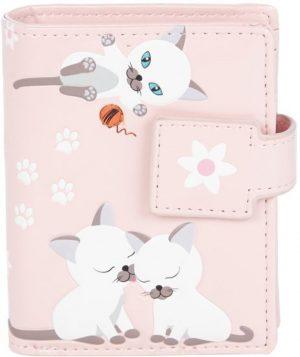Shagwear Trendy & Funky Dames Portemonnee - Tieners - Kat / Playful Kittens - Roze (0404sm-P)