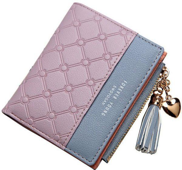 ZILOU Compacte Portemonnee - Mini Wallet - Portefeuille - Dames - Kunstleer - Paars