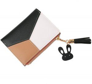 ZILOU Dames Portemonnee Compact - Mini Wallet Portefeuille - Kunstleer - Patchwork - Zwart