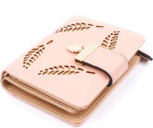 7dff4fe996c ... ZILOU Overslagportemonnee - Compacte Mini Wallet - Bladmotief -  Kaarthouder - Dames - Kunstleer - Roze