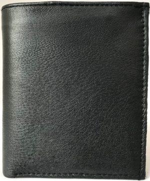 Lundholm Leren Portemonnee Heren - zeer soepel nappa leer - staand model zwart