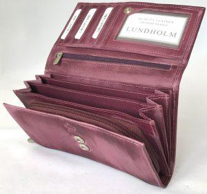 78afe92266c Lundholm - Luxe Leren portemonnee dames leer paars - overslag harmonica  model - Paars / Wijnrood