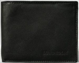 Lundholm - Portemonne heren billfold- stevig leer - veel pasruimte - portomonnee zwart