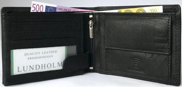 Lundholm RFID - Leren portemonnee heren RFID leer - zwart