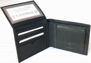 Lundholm RFID - leren portemonnee heren leer - compact model - zwart RFID anti-skim