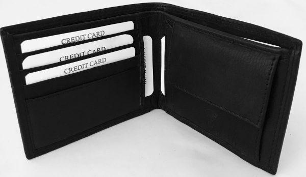 Lundholm - leren portemonnee heren leer RFID - anti skim  compact model - zwart