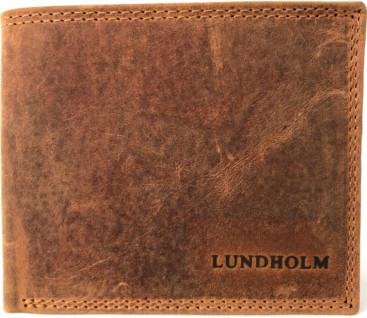 Heren Leren Portemonnee.Lundholm Leren Portemonnee Heren Leer Vintage Bruin Compact Model