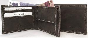 Lundholm - leren portemonnee heren - zeer compact model - premium kwaliteit vintage leer - Bruin
