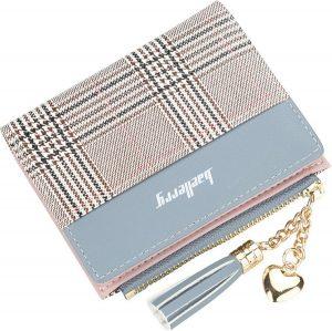 ZILOU Portemonnee - Compacte Portefeuille - Mini Wallet - Dames - Kunstleer - Ruitmotief - Bruin