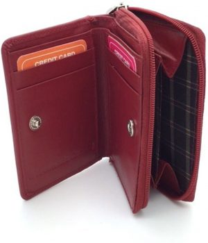 Kleingeld portemonnee / kaarthouder leder rood 29927