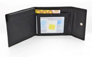 Kleingeld portemonnee met Clic Clac leder zwart 1303