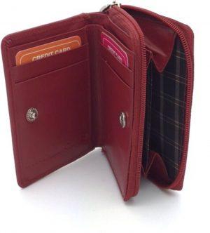 Kleingeld portemonnee / kaarthouder leder bordeaux 29929