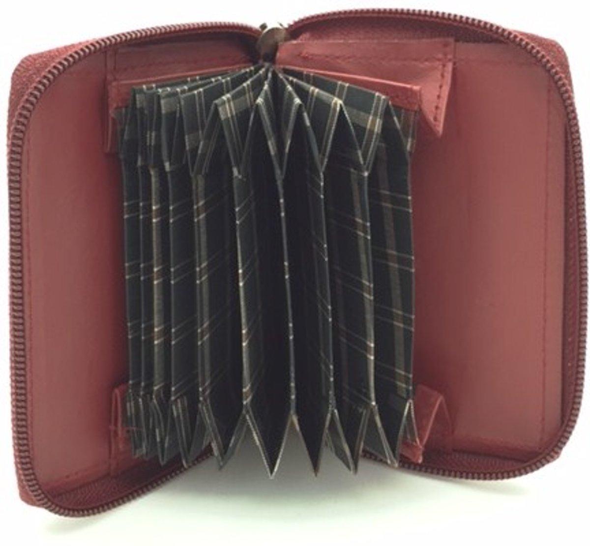Kleingeld portemonnee kaarthouder leder rood 29827