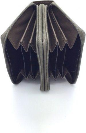 Kleingeld portemonnee leder taupe - grijs 29735
