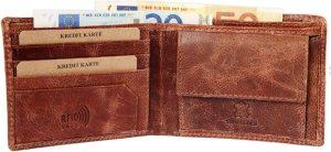 Akzent leren heren portemonnee RFID Bruin