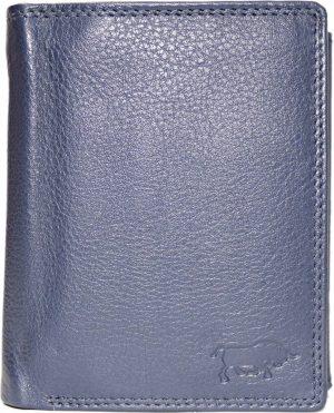 Donkerblauwe rundleren billfold euro portemonnee met bakje voor kleingeld met druksluiting en 2 vakken voor briefgeld