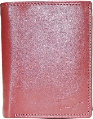 Donkerrode rundleren billfold euro portemonnee met bakje voor kleingeld met druksluiting en 2 vakken voor briefgeld