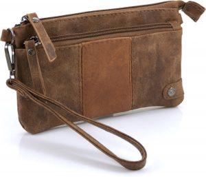 Handige portemonnee - tasje camel met voorvak