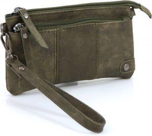 Handige portemonnee - tasje groen met voorvak