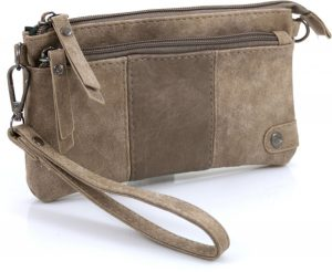 Handige portemonnee - tasje licht bruin met voorvak