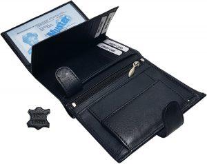 Heren Zwart Leren Portemonnee Drukknop met 19 vakjes voor pasjes kleingeld briefgeld 9 x 12 x 2 cm Leer