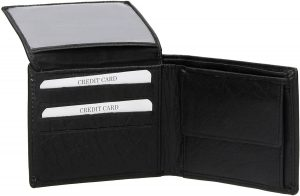 Heren portemonnee - Zwart - Echt Leer - 8 pasjes