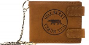 HillBurry - V88848 - 6404DL - heren portemonnee met ketting en dubbele druksluiting - bruin - leer