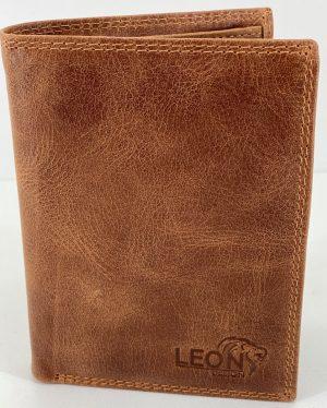 LeonDesign - 47-B140-40 cognac bruin luxe compacte heren portemonnee leer