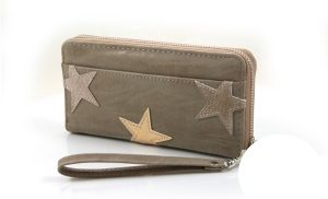 Lever kleurige Dames portemonnee met sterren 2.0