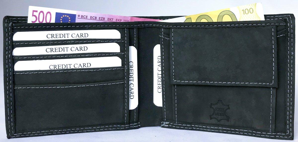 Lundholm leren portemonnee heren leer antraciet compact model cadeau voor man