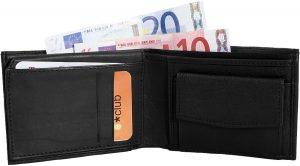 Monopol portemonnee - heren - Billfold - zwart - echt leer