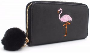 Portemonnee - Zwart met flamingo - Pompom - Groot