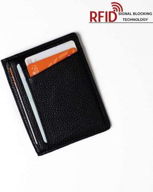 RFID Stijlvolle ID Houder / Pasjeshouder Portemonnee Leer Zwart