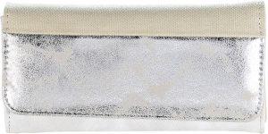 Ultimate Travelstyle | dames portemonnee met overslag| metallic | grijs | 19x11x2.5 cm