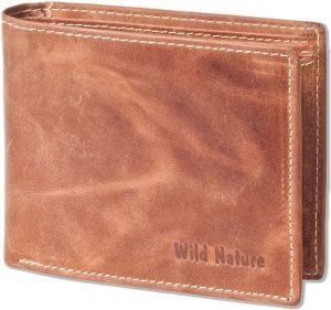 Wild Nature - Leren Vintage Heren Billfold Portemonnee   Cognac