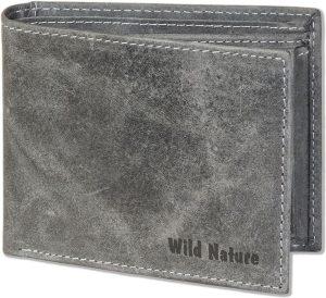 Wild Nature - Leren Vintage Heren Billfold Portemonnee | Grijs