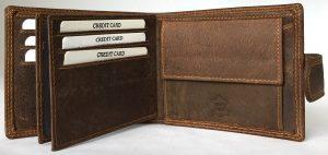Lonoce Leather Leren portemonnee Heren Bruin - Stevig billfold model