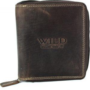 Portemonnee heren Wild leder d.bruin 10,5x2x12,5cm(RS005-15) -