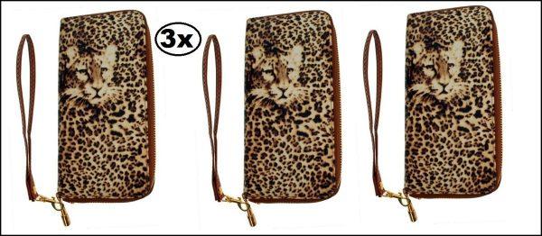 3x Gooische knip panterprint - portemonnee tasje heren dames panter