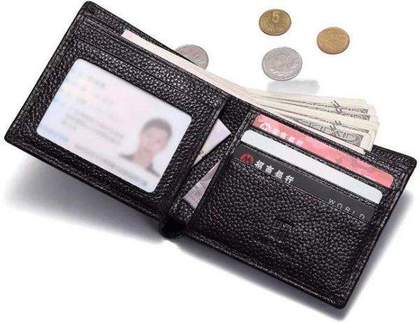 Heren Portemonnee bilfold Echte Leer Zwart-RFID