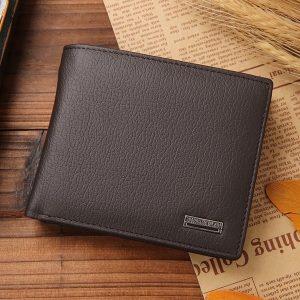 Echte lederen portemonnee Mode korte Bifold mannen portemonnee casual Soild mannen portefeuilles met munt Pocket portemonnees mannelijke portefeuilles (koffie)