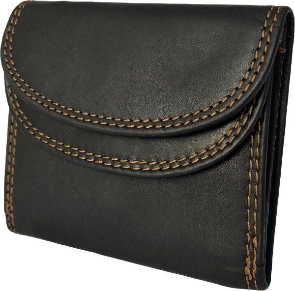 Lundholm - dames portemonnee klein leer - leren portefeuille dames zwart - kleine portemonnee dames leer