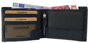 Lundholm RFID portemonnee Heren portemonnee leer zwart RFID anti-skim bescherming | hoogwaardige kwaliteit - cadeau voor man
