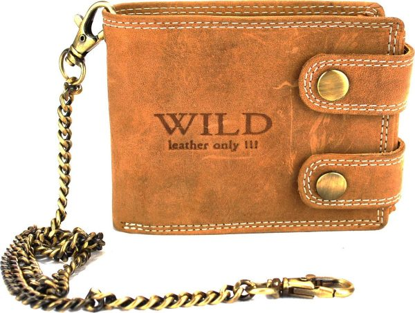Portemonnee Heren Wild leder l.bruin 11,5x2x9 cm (RS400W-13) -