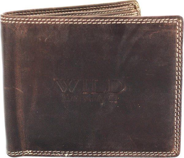 Portemonnee heren Wild leder d.bruin 11.5x15x9 cm ( Rg-505-15) -