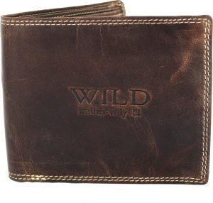 Portemonnee heren Wild leder donkerbruin 11,5x1,5x9 cm(RG504-15) -