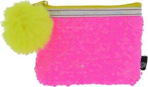 Kangaro Tasje Funtastic - Neon - Portemonnee met pailetten - Rits en pompom - 12,5x9 cm